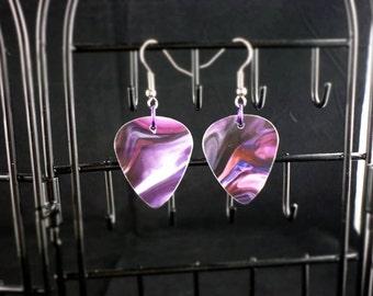 Purple Swirl Guitar Pick Earrings