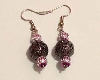 Shiny Grey, Silver and Purple Earrings