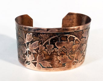 Etched Copper Cuff Bleeding Hearts Bracelet - Free Domestic Shipping