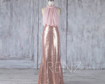 Bridesmaid Dress Rose Gold Sequin Dress,Blush Chiffon Dress Wedding Dress,Ruched High Neck Maxi Dress,Separate Top Fitted Party Dress(HQ535)