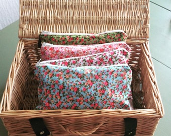 Ditsy floral pencil case  zipper pouch cosmetic bag