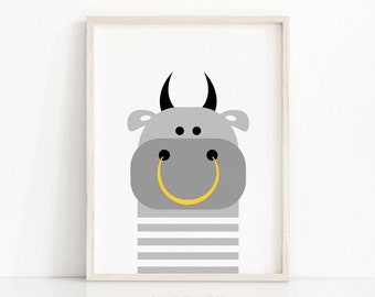 Digital Download Animal Nursery Art, Bull Nursery Print, Kids Wall Art, Farm Animal Print, Kids Print, Printable Nursery, Modern Kids Decor