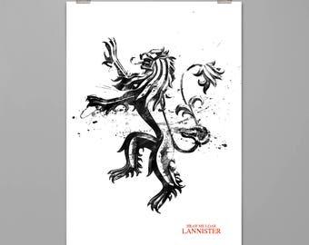 Game of Thrones Art print Lannister poster GOT wall decor Modern art print Splattered watercolor style Contemporary ART PRINT #0129
