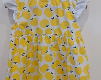 Yellow apple print dress. Size 3