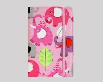 Kindle Cover Hardcover, Kindle Case, eReader, Kobo, Kindle Voyage, Kindle Fire HD 6 7, Kindle Paperwhite, Nook GlowLight Pink Elephants