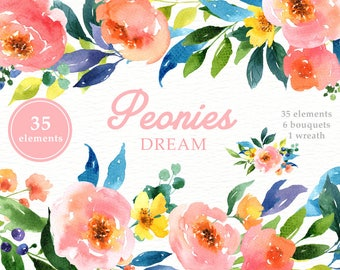 Peonies Dream Watercolor Clipart, Peony, Pink blush, wedding invitations, wedding clipart,beautiful bouquet, washy watercolour, pink florals