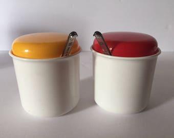 West German Sugar Creamer Bowls with Spoons