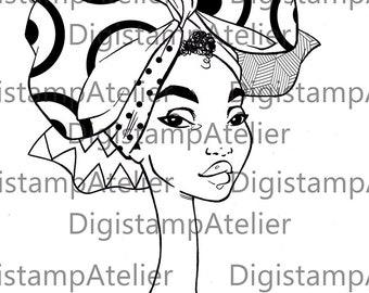 African Headwrap 2. INSTANT DOWNLOAD Digital Digi Stamps.