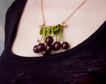 Cherry necklace, Cherry pendant, Fruit necklace jewelry, Cherry jewelry, Cherry style, Cherry pinup, 1950s jewelry, Rockabilly necklace