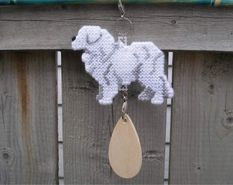 Great Pyrenees art decor hang anywhere crate tag handmade needlepoint by dog artist, Magnet option