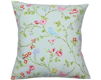 Seafoam Bird Trail Clarke and Clarke Floral Fabric Vintage Shabby Chic Cushion Cover
