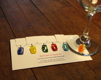 Colored Pebble Glass Wine Charms