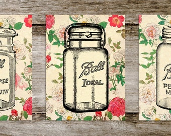 Vintage Floral Mason Jar Print Set from Curious London