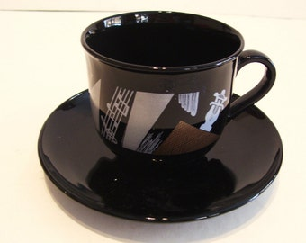 Arcoroc France Black Glass Cup and Saucer Bass Instrument Music Theme