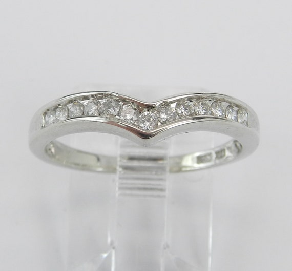 Diamond Wedding Ring Contour Anniversary Stackable Band White Gold Size 7