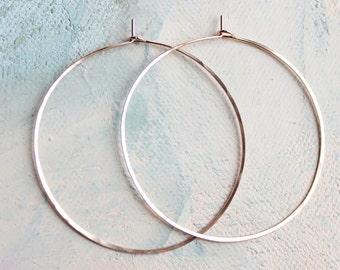 """Thin Rose Gold Hoop Earrings, Large Hoop Earrings 2"""" pink gold hoop earings, large rose gold hoops"""