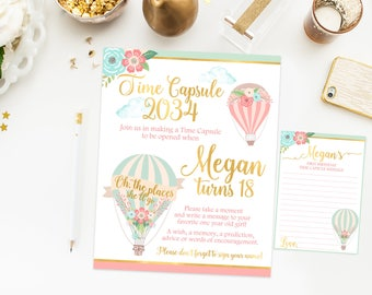 Hot air balloon Time capsule first birthday sign, hot air ballon first birthday party, oh the places she'll go, pink and gold, printable