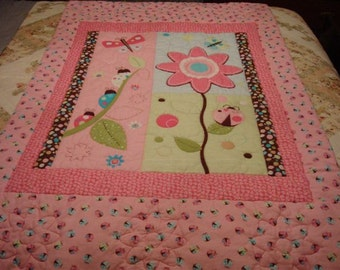 """Made to Order Baby or Toddler Crib Size 40""""x60"""" Flannel Pink Flower and Ladybug Panel Quilt/Blanket"""