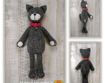 Knitted toy knitting pattern for Margot the Cat, PDF download