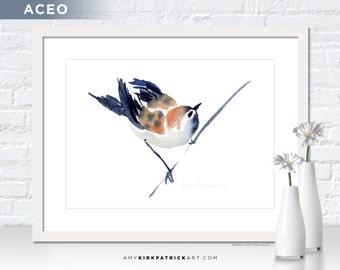 SPARROW Painting, Bird Print, Bird Original ACEO, Sparrow Greeting Cards, Original Watercolor Sparrow, Chinese Watercolor Bird, Steadfast