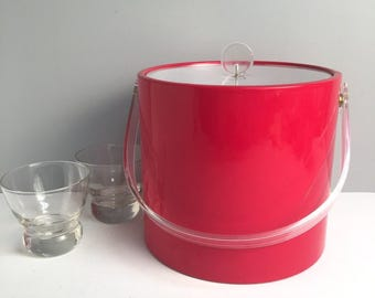 Red vinyl ice bucket by Shelton-Ware - vintage 1970s barware