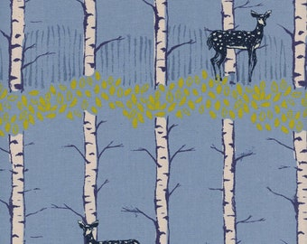 Cotton + Steel Frost - Fawn in Forest Blue - Quilting Cotton - Fabric by the Yard - Deer Woodland Fabric