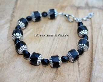 Black And Silver Bracelet - Beaded Black Bracelet - Czech Glass Bracelet - Cathedral Beads - Silver Capped Beads - Adjustable - Two Feathers