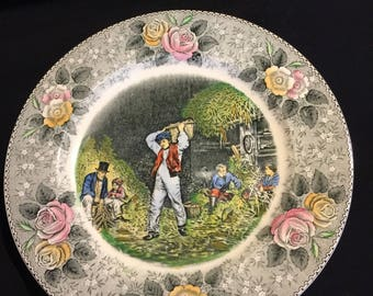 "Currier & Ives 10.5"" colored plate ""Husking""."