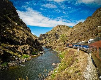 Colorado Railroad Train in Mountains Fine Art Print - Travel, Scenic, Landscape, Nature, Home Decor, Zen