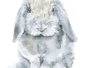 Watercolor Bunny Painting Giclee Print - 5 x 7 - Nursery Art - MIni Lop Rabbit