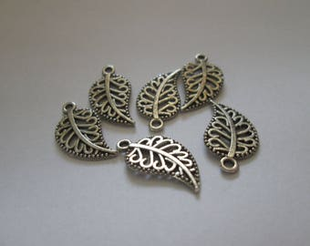 10 charms leaves 19 x 10 mm silver color metal