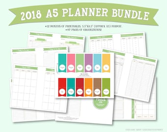 """2018 Monthly Planner and Organizer Bundle : 5.5""""x8.5"""" (A5 size)"""