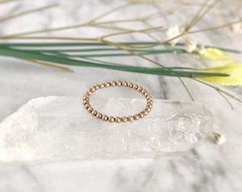 14K Gold Ring, Stackable Ring, Promise Ring, Minimalist Ring, Stacking Ring, Beaded Ring, Simple Ring, Stacked Ring, 14K Rose Gold