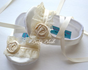 Ivory Satin Baby Shoes Ballerina Slippers with Ivory Lace & Ivory Rosette