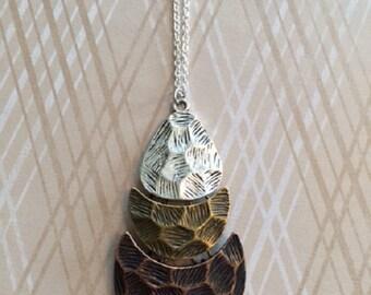 SALE - CLEARANCE - Tri Color Necklace - Multi Color Necklace - Metal Necklace - Bohemian Jewelry - Bohemian Necklace - Bohemian Wedding