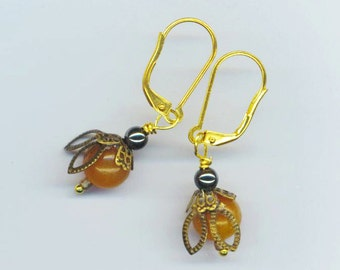 Bee Earrings . Small Tiny Bees . Aventurine Beads . Brass Filigree . Hematite Beads . Gold Plated - I'm a Small Bee by enchantedbeas on Etsy