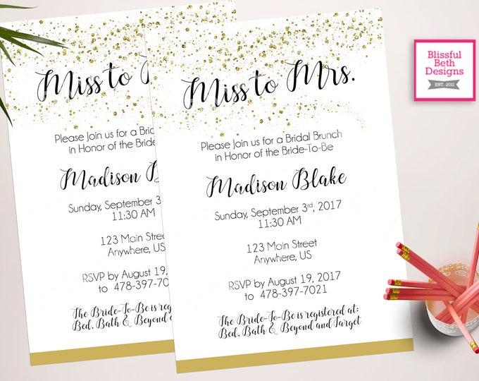 MISS TO MRS. Bridal Shower, Bridal Shower, Miss to Mrs., Gold and Black Bridal Shower, Gold Glitter Bridal Shower