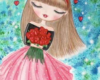 Girl art print. Girl watercolor painting. Girls room art decor. Big eye girl art. Big eye doll painting. Gift for her. Valentine's Day gift.