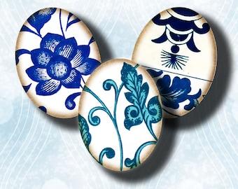 Digital Collage sheet - Asian Blue Porcelain (7) Ovals 30 motifs 63 Tiles 18x25mm - .70x.98 inch - See Promo Offer