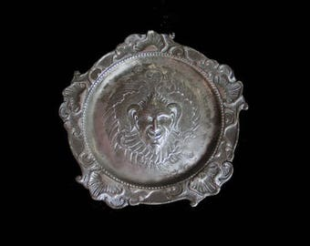 Antique Victorian Gothic Pewter Demon Drinks Tray, Tarot Salver, Satyr, Horned Man, Devil, Wicca, Occult, Unique Goth Curio