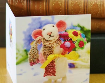 Mouse birthday card, mouse art card, mouse greeting card, cute mouse birthday card