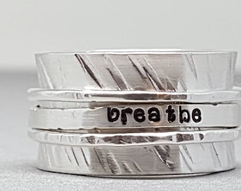 Sterling silver - spinner - spinning - spin - meditation - yoga - breathe - ring - size 8.5- ring for her - ring for anxiety - birthday gift
