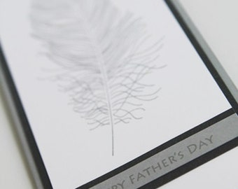 Happy Father's Day Feather Hand Made Card, Thinking of You Dad Greeting Card, Grandfather Card for Uncle, Stepdad Card