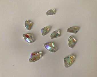 Has AB rhinestones sew 11 * 19 mm Crystal 10 piece lot