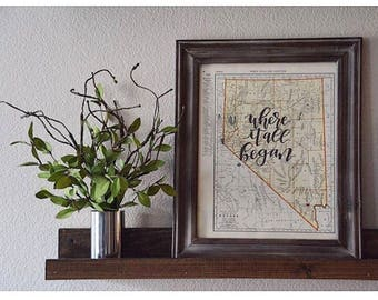 Nebraska & Nevada | personalized calligraphy map | original vintage map | calligraphy map | custom calligraphy map