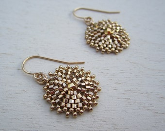 Dinner date gold round drop earrings with glass beads and 14K gold filled findings
