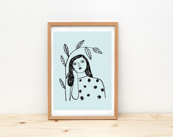 Woman and branch- print - 8 x 11.5 - A4 - by Depeapa