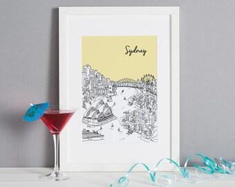 Sydney Screen Print | Screen Print | Sydney Picture | Sydney Art | Valentines Day Gift | Unique Wedding Gift | Anniversary Gift