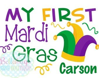 My First Mardi Gras Iron-On Transfer - Mardi Gras - Tshirt - Jester Hat