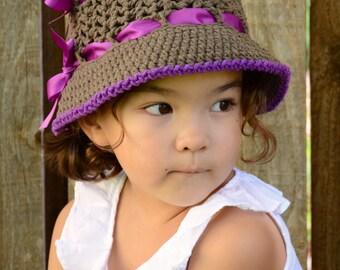 CROCHET PATTERN - Sugar & Spice - a crochet sun hat pattern, spring hat in 5 sizes (Infants, Babies, Toddler, Child) - Instant PDF Download